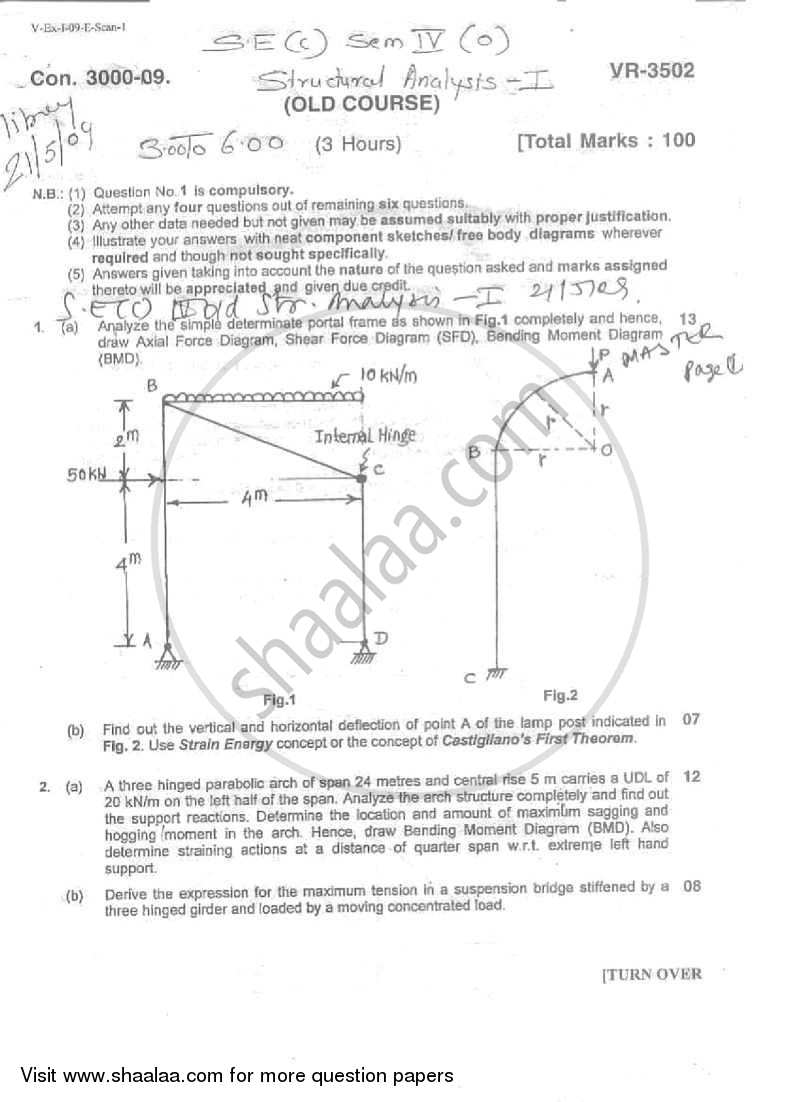 Question Paper - Structural Analysis 1 2008 - 2009 - B.E. - Semester 4 (SE Second Year) - University of Mumbai
