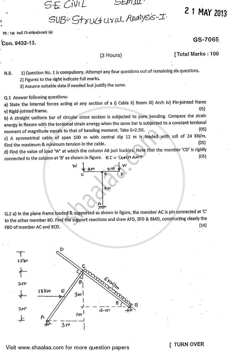 Question Paper - Structural Analysis 1 2012 - 2013 - B.E. - Semester 4 (SE Second Year) - University of Mumbai