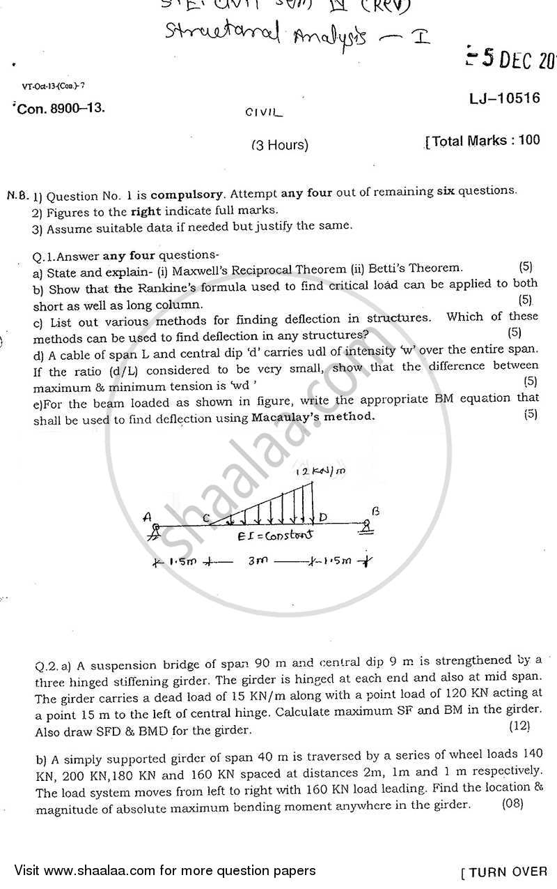 Question Paper - Structural Analysis 1 2013 - 2014 - B.E. - Semester 4 (SE Second Year) - University of Mumbai
