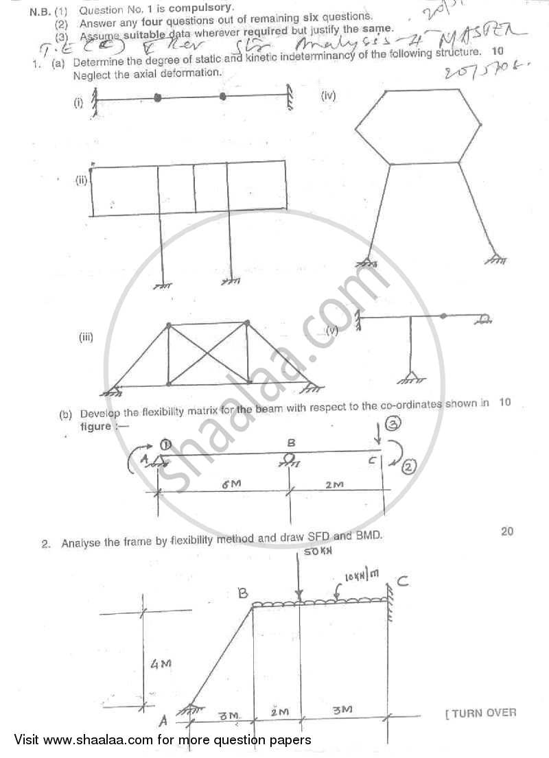 Question Paper - Structural Analysis 2 2007 - 2008 - B.E. - Semester 5 (TE Third Year) - University of Mumbai