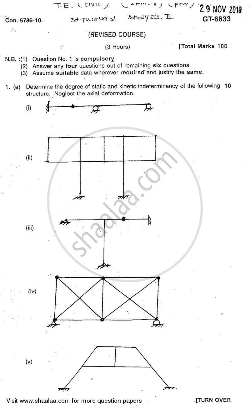 Question Paper - Structural Analysis 2 2010 - 2011 - B.E. - Semester 5 (TE Third Year) - University of Mumbai