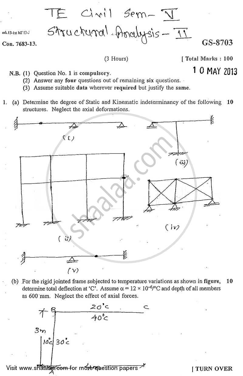 Question Paper - Structural Analysis 2 2012 - 2013 - B.E. - Semester 5 (TE Third Year) - University of Mumbai
