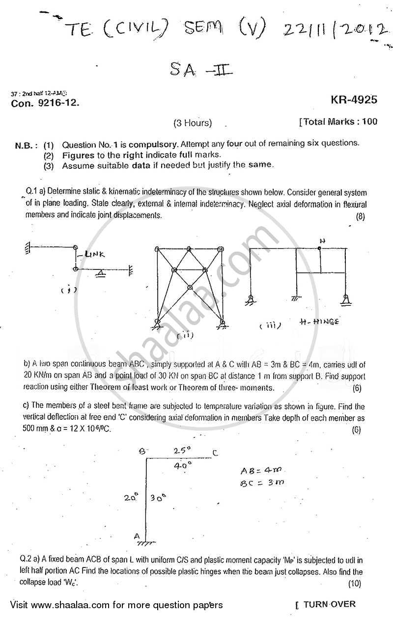 Question Paper - Structural Analysis 2 2012 - 2013-B.E.-Semester 5 (TE Third Year) University of Mumbai