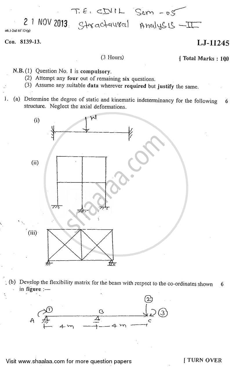 Question Paper - Structural Analysis 2 2013 - 2014 - B.E. - Semester 5 (TE Third Year) - University of Mumbai