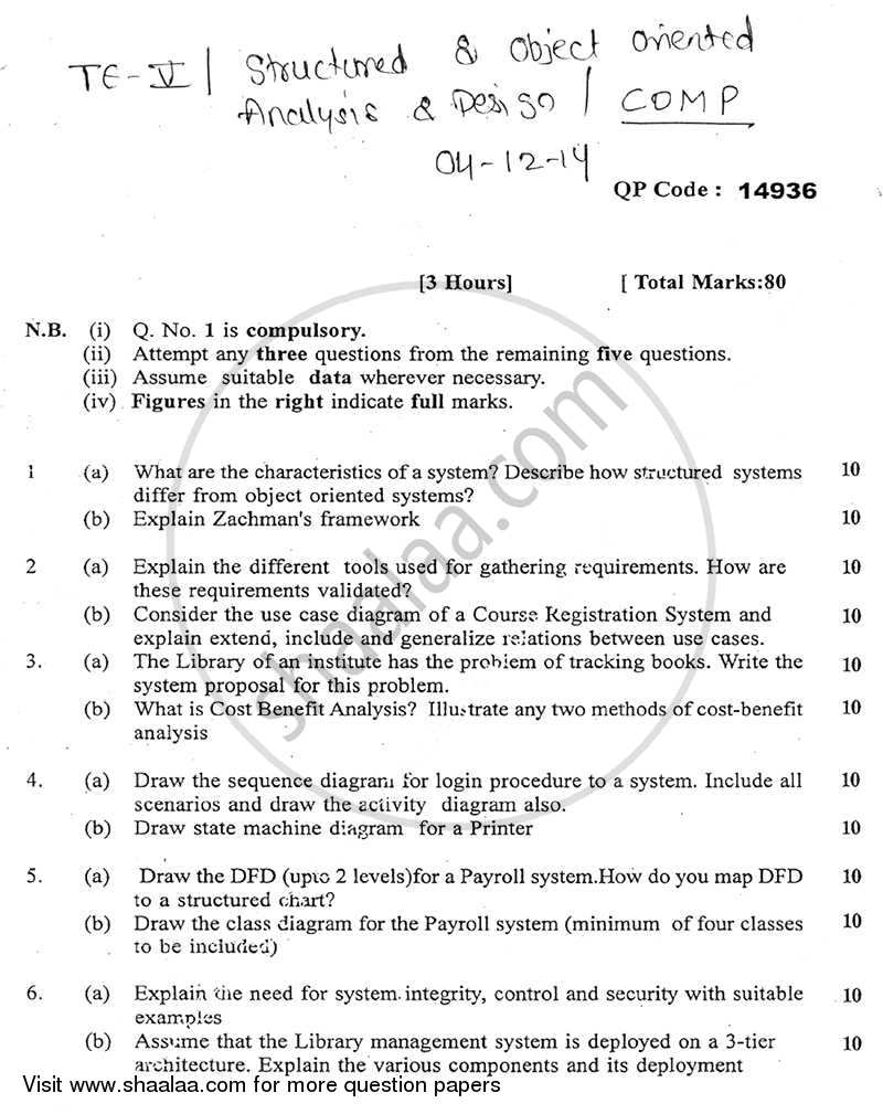 Structured and Object Oriented Analysis and Design 2014-2015 - B.E. - Semester 5 (TE Third Year) - University of Mumbai question paper with PDF download
