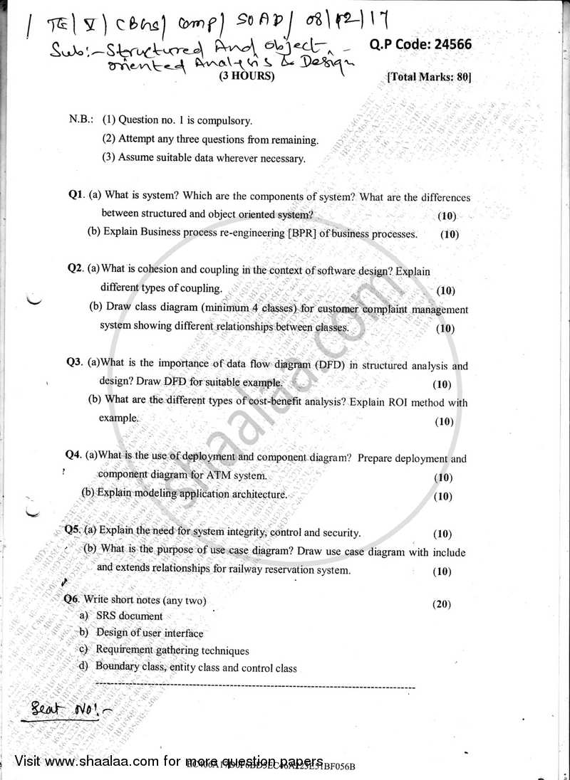 Structured And Object Oriented Analysis And Design 2017 2018 Be Computer Engineering Semester 5 Te Third Year Cbgs Question Paper With Pdf Download Shaalaa Com