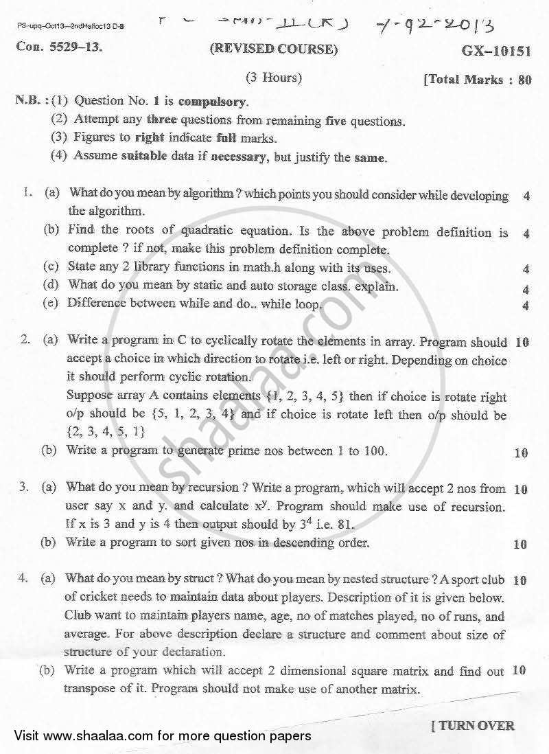 Question Paper - Structured Programming Approach 2013-2014 - B.E. - Semester 2 (FE First Year) - University of Mumbai with PDF download