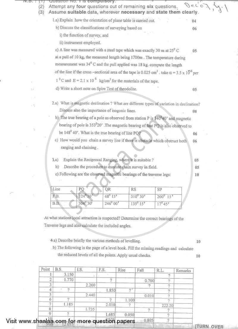 Question Paper - Surveying 1 2007 - 2008 - B.E. - Semester 3 (SE Second Year) - University of Mumbai