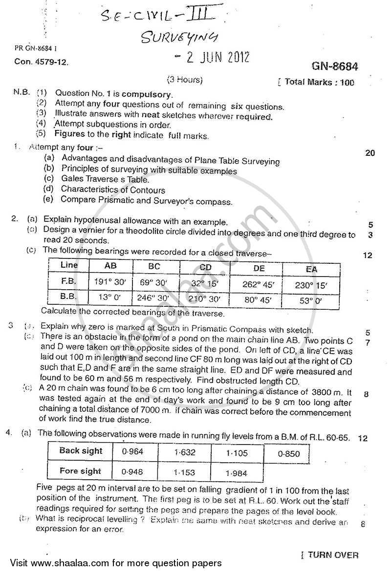 Question Paper - Surveying 1 2011 - 2012 - B.E. - Semester 3 (SE Second Year) - University of Mumbai