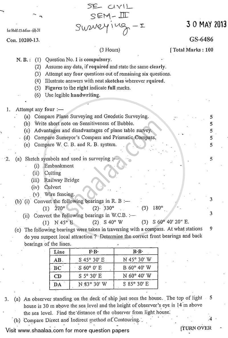Question Paper - Surveying 1 2012 - 2013 - B.E. - Semester 3 (SE Second Year) - University of Mumbai