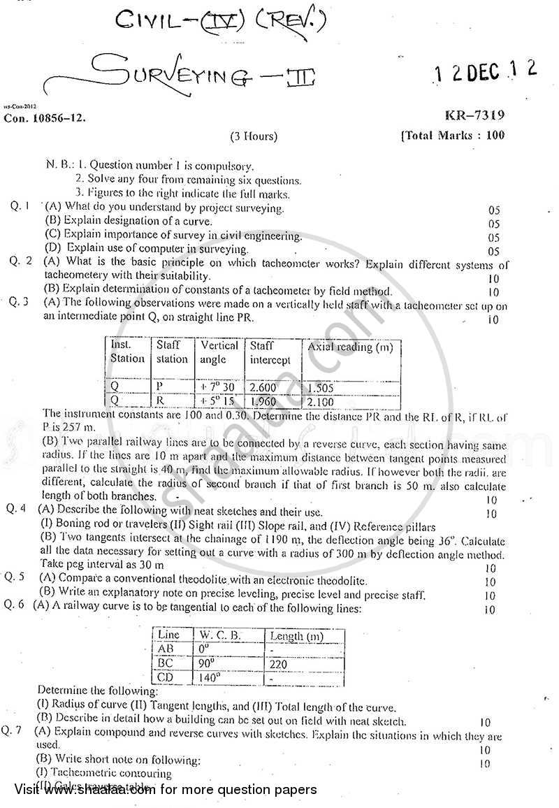 Question Paper - Surveying 2 2012 - 2013 - B.E. - Semester 4 (SE Second Year) - University of Mumbai