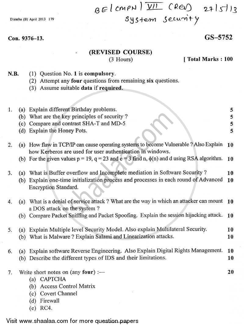 Question Paper - System Security 2012 - 2013 - B.E. - Semester 7 (BE Fourth Year) - University of Mumbai