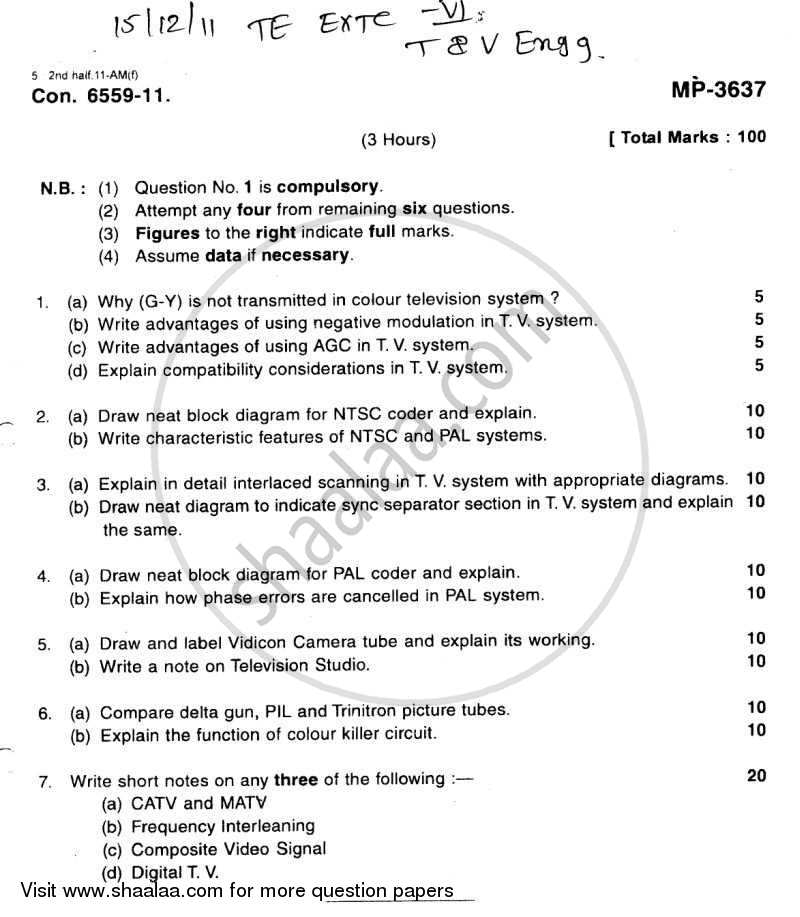 Question Paper - Television and Video Engineering 2011 - 2012 - B.E. - Semester 6 (TE Third Year) - University of Mumbai