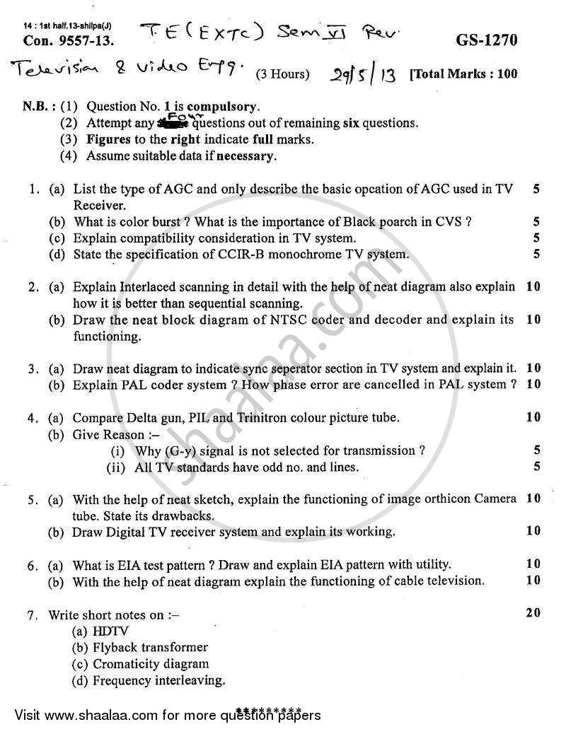 Question Paper - Television and Video Engineering 2012 - 2013-B.E.-Semester 6 (TE Third Year) University of Mumbai