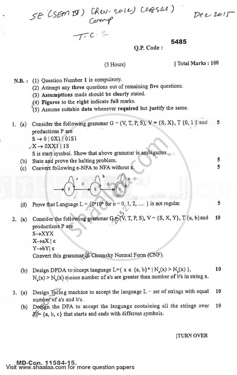 Question Paper - Theoretical Computer Science 2015 - 2016 - B.E. - Semester 4 (SE Second Year) - University of Mumbai