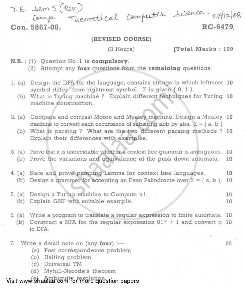 Question Paper - Theory of Computer Science 2008 - 2009 - B.E. - Semester 5 (TE Third Year) - University of Mumbai