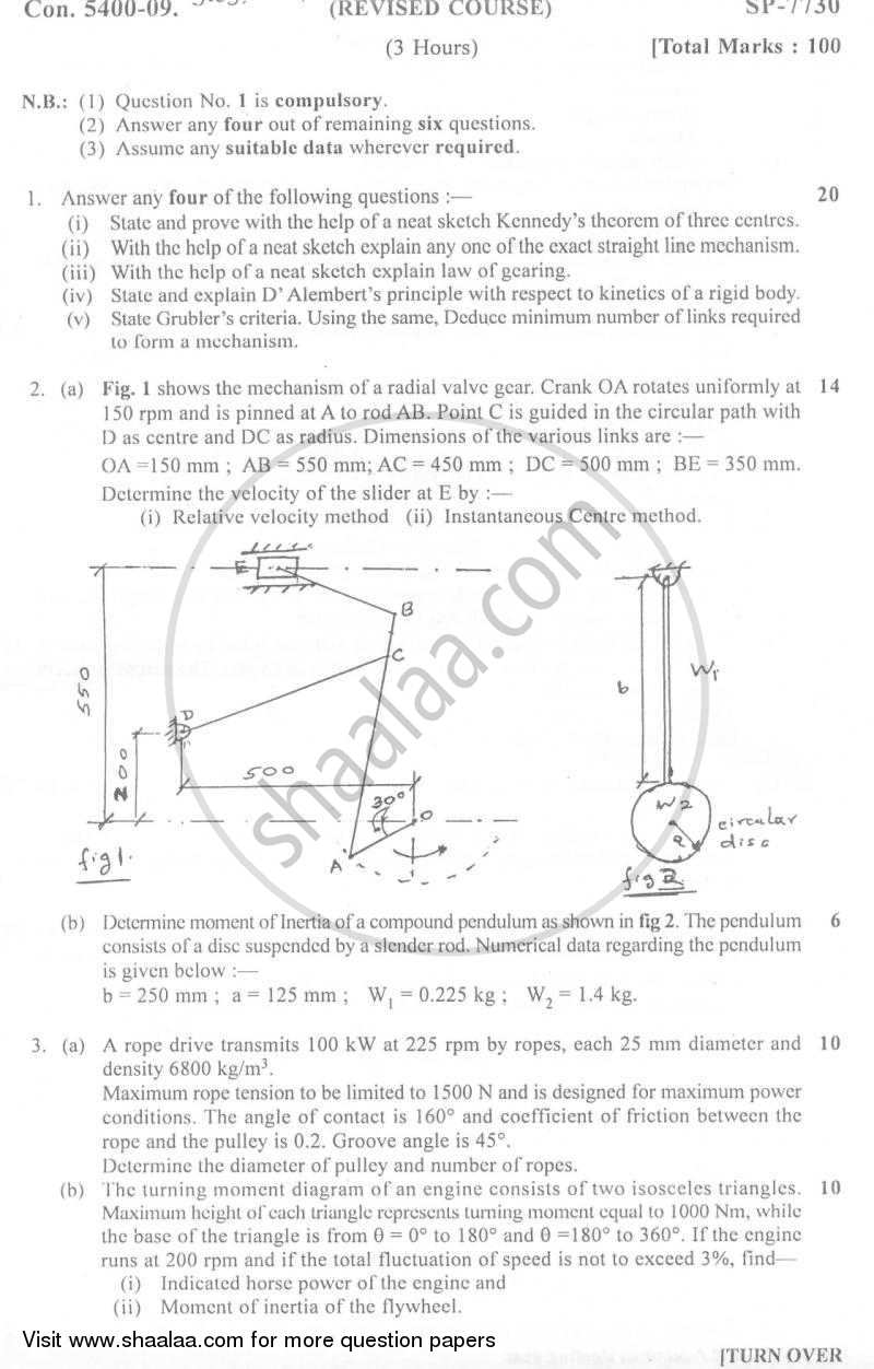 Theory of Machines 1 2009-2010 - B.E. - Semester 4 (SE Second Year) - University of Mumbai question paper with PDF download