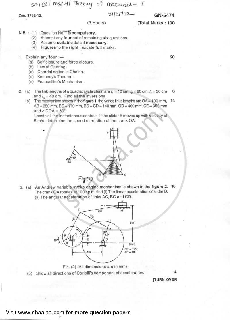 Theory of Machines 1 2011-2012 - B.E. - Semester 4 (SE Second Year) - University of Mumbai question paper with PDF download