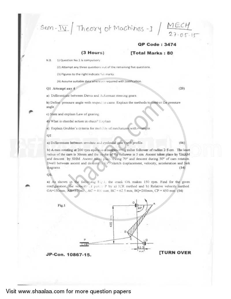 Question Paper - Theory of Machines 1 2014 - 2015 - B.E. - Semester 4 (SE Second Year) - University of Mumbai