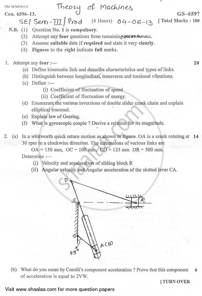 Question Paper - Theory of Machines 2012 - 2013 - B.E. - Semester 4 (SE Second Year) - University of Mumbai