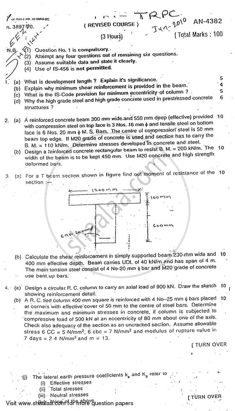 Question Paper - Theory of Reinforced and Prestressed Concrete 2009 - 2010 - B.E. - Semester 6 (TE Third Year) - University of Mumbai