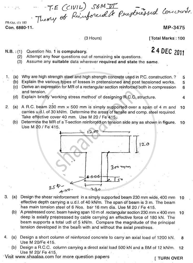 Question Paper - Theory of Reinforced and Prestressed Concrete 2011 - 2012 - B.E. - Semester 6 (TE Third Year) - University of Mumbai