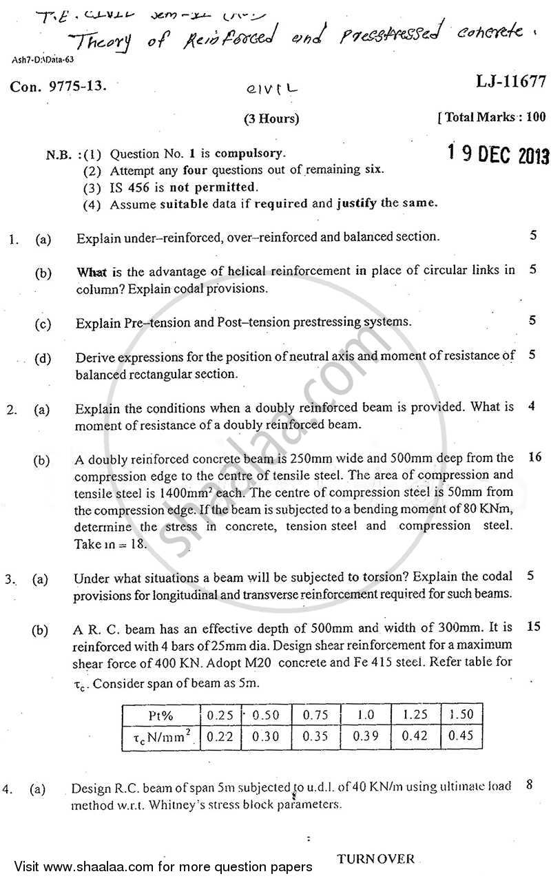 Question Paper - Theory of Reinforced and Prestressed Concrete 2013 - 2014 - B.E. - Semester 6 (TE Third Year) - University of Mumbai