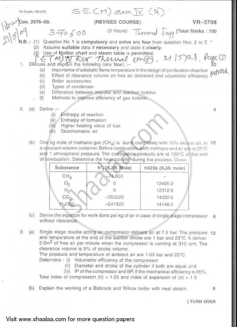 Question Paper - Thermal Engineering 2008 - 2009 - B.E. - Semester 4 (SE Second Year) - University of Mumbai