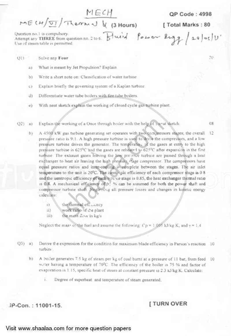 Question Paper - Thermal and Fluid Power Engineering 2014 - 2015 - B.E. - Semester 6 (TE Third Year) - University of Mumbai