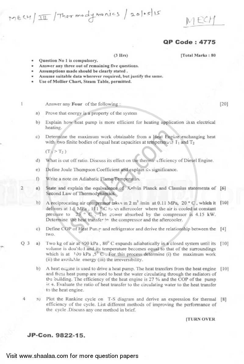 Question Paper - Thermodynamics 2014 - 2015 - B.E. - Semester 3 (SE Second Year) - University of Mumbai