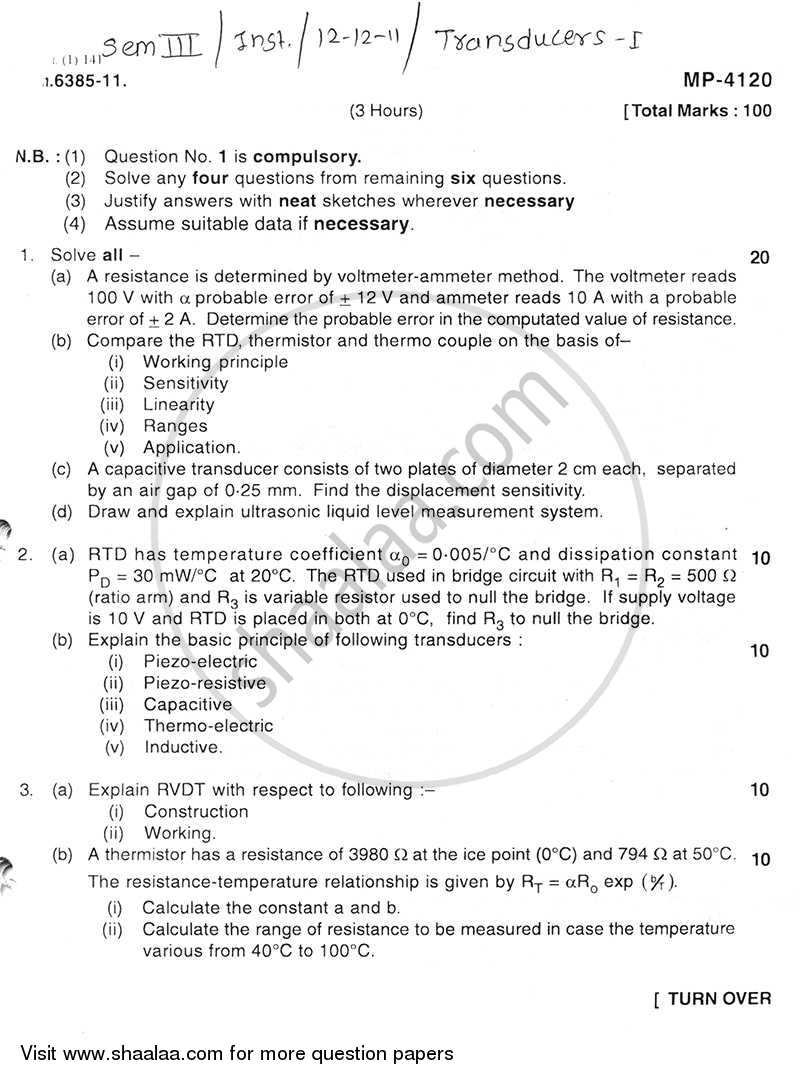 Transducers 1 2011-2012 - B.E. - Semester 3 (SE Second Year) - University of Mumbai question paper with PDF download
