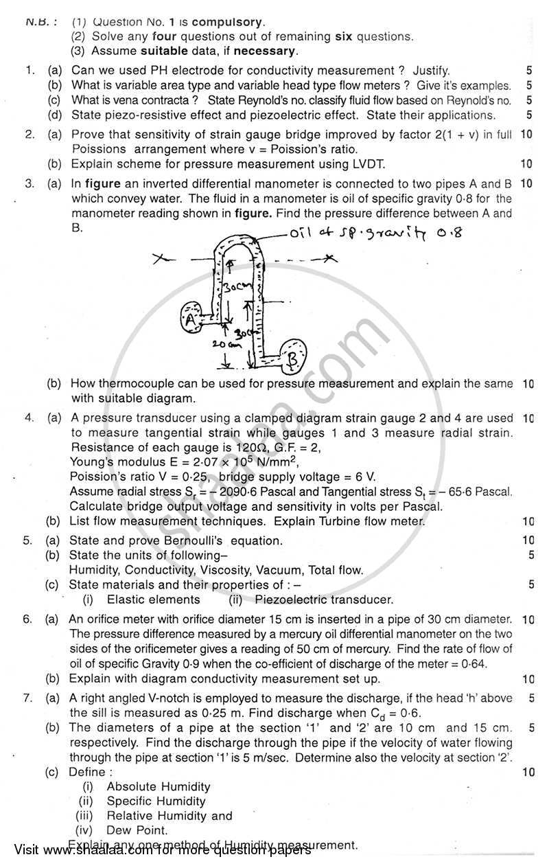 Question Paper - Transducers 2 2010 - 2011 - B.E. - Semester 4 (SE Second Year) - University of Mumbai