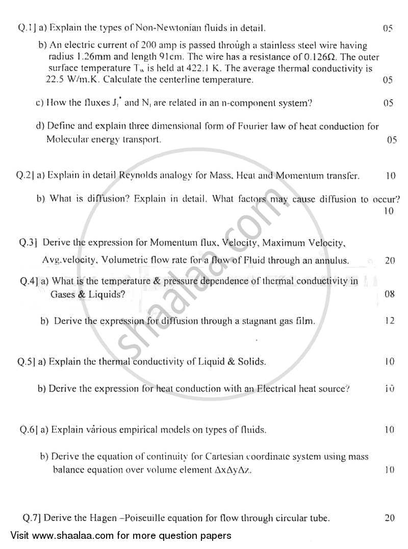 Transport Phenomenon 2011-2012 - B.E. - Semester 6 (TE Third Year) - University of Mumbai question paper with PDF download