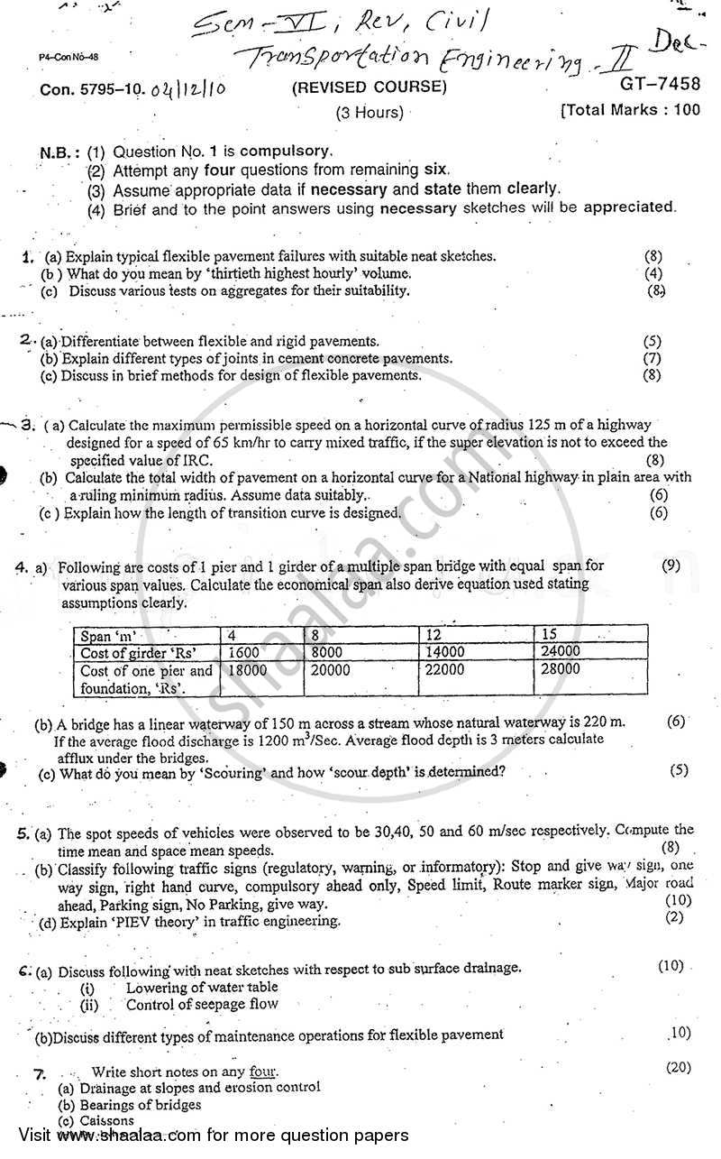 Question Paper - Transportation Engineering 2 2010 - 2011 - B.E. - Semester 6 (TE Third Year) - University of Mumbai
