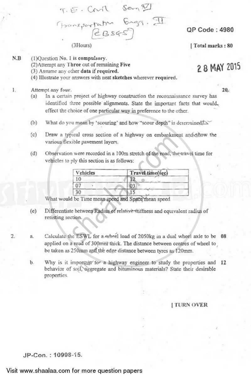 Question Paper - Transportation Engineering 2 2014 - 2015 - B.E. - Semester 6 (TE Third Year) - University of Mumbai