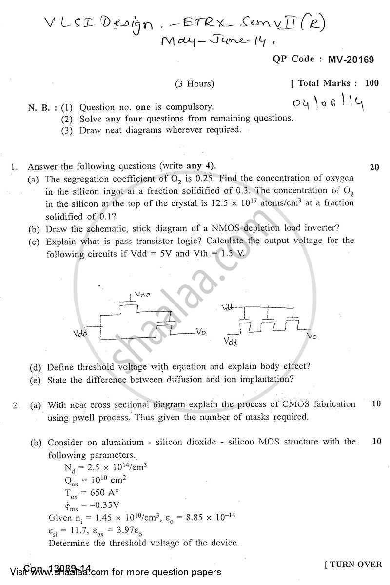Question Paper - Vlsi Design 2013 - 2014 - B.E. - Semester 7 (BE Fourth Year) - University of Mumbai