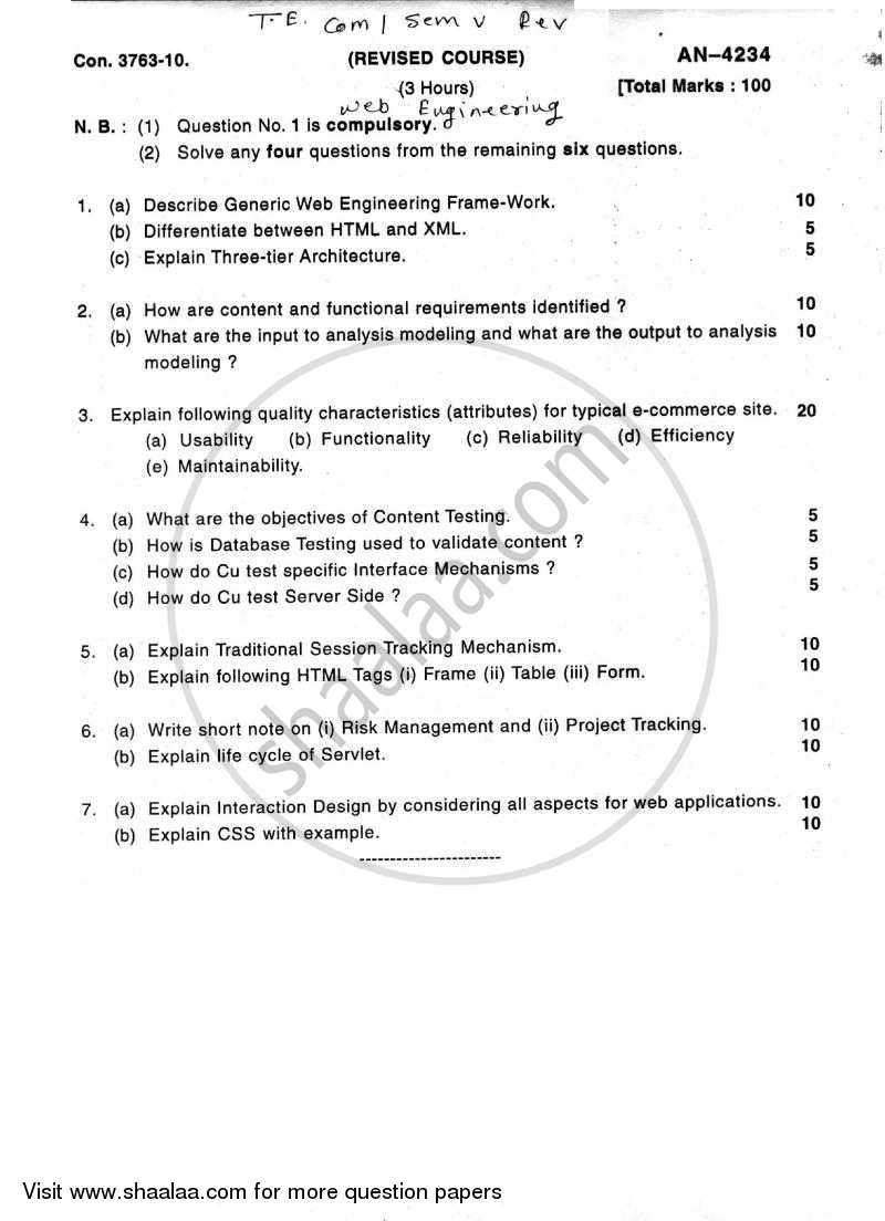 Web Engineering 2009-2010 - B.E. - Semester 5 (TE Third Year) - University of Mumbai question paper with PDF download