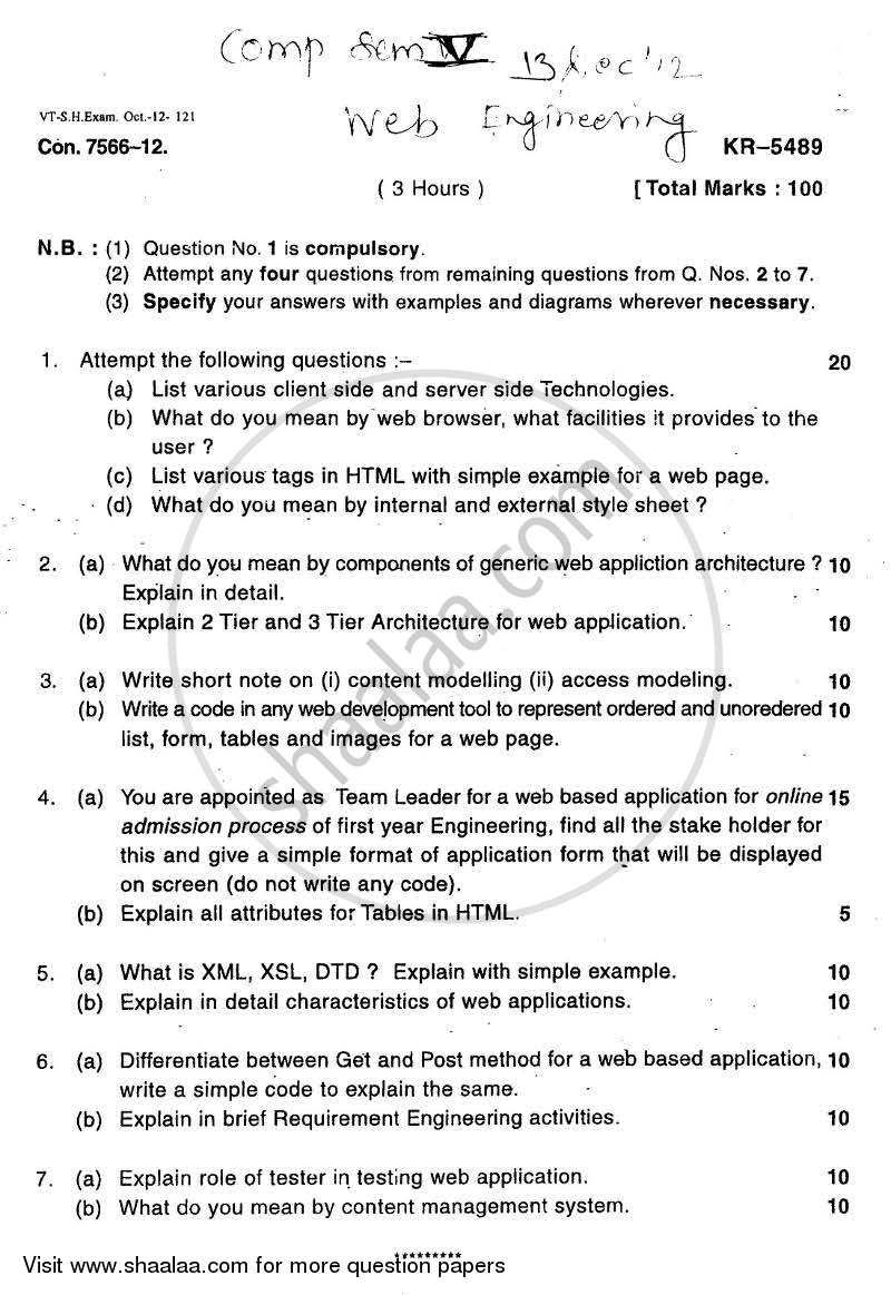 Question Paper - Web Engineering 2012 - 2013 - B.E. - Semester 5 (TE Third Year) - University of Mumbai