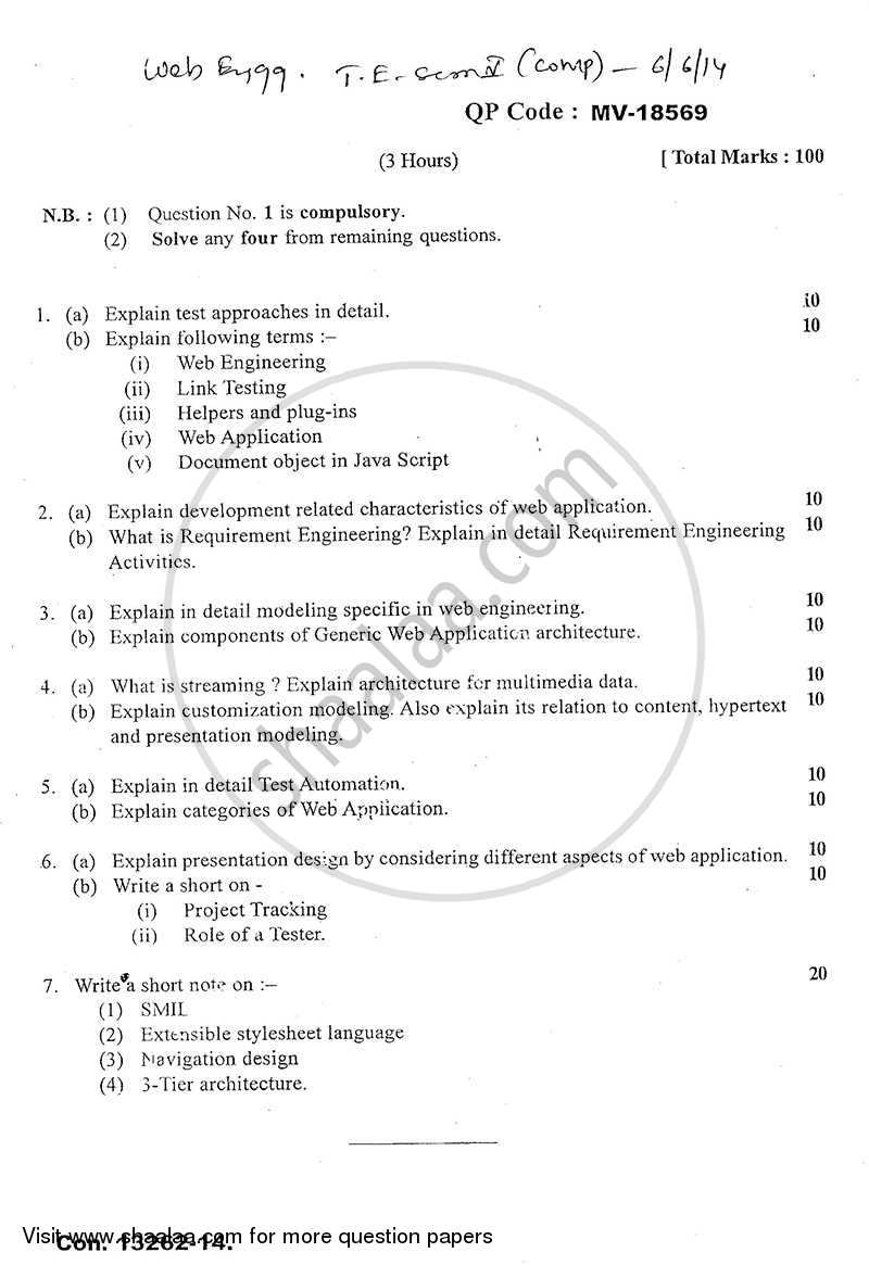 Question Paper - Web Engineering 2013 - 2014 - B.E. - Semester 5 (TE Third Year) - University of Mumbai