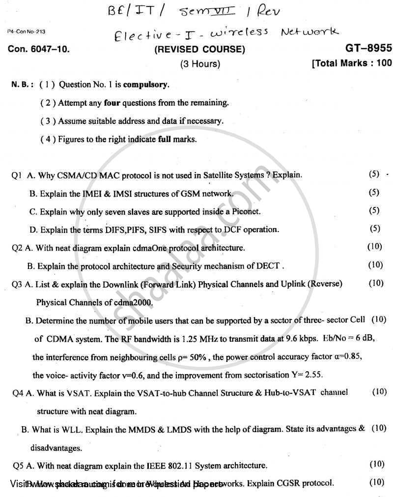 Question Paper - Wireless Network 2010 - 2011 - B.E. - Semester 7 (BE Fourth Year) - University of Mumbai