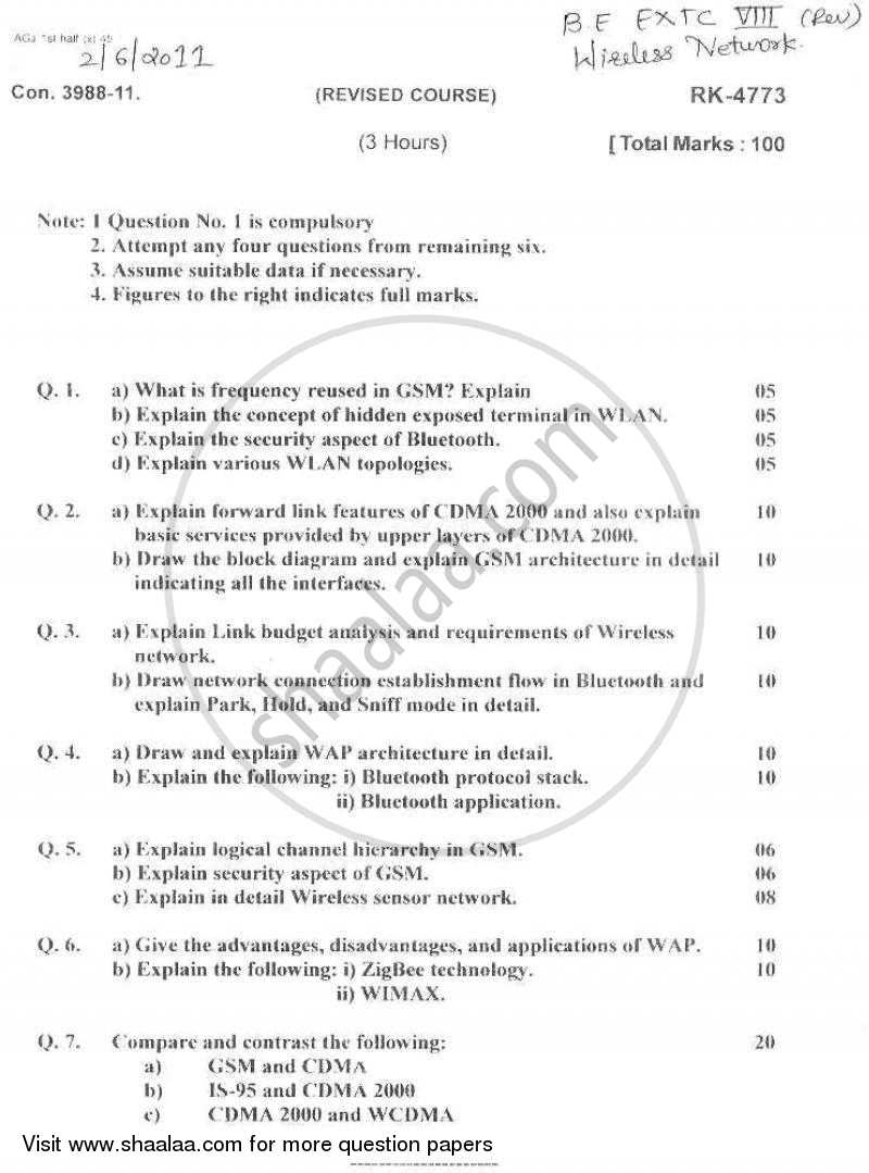 Wireless Network 2010-2011 - B.E. - Semester 8 (BE Fourth Year) - University of Mumbai question paper with PDF download