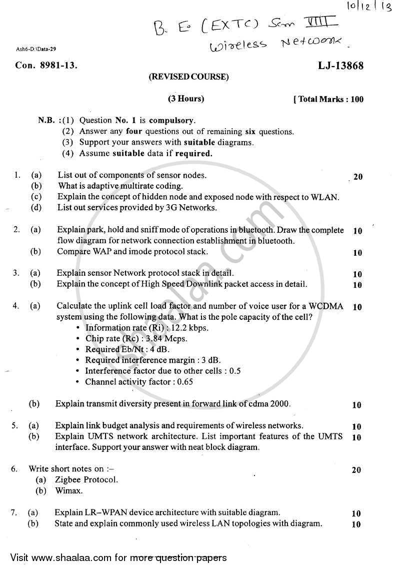 Question Paper - Wireless Network 2013 - 2014 - B.E. - Semester 8 (BE Fourth Year) - University of Mumbai