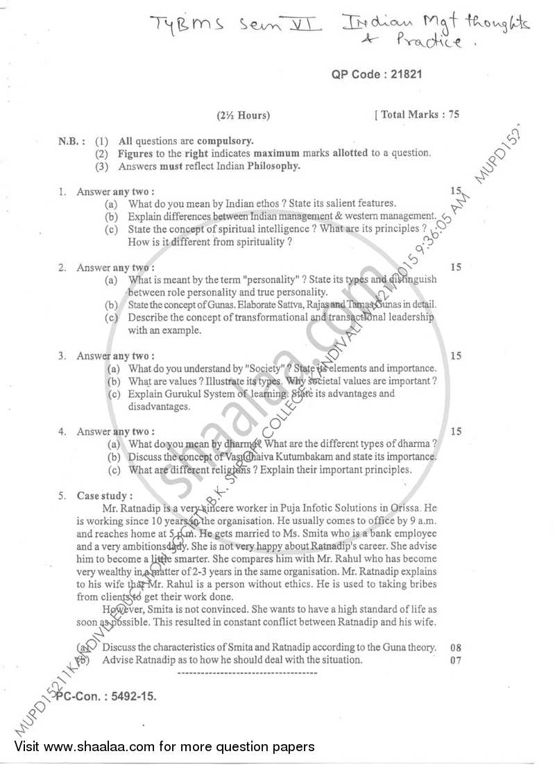 Question Paper - Indian Management Thought and Practices 2014-2015 - B.M.S - Semester 6 - University of Mumbai with PDF download