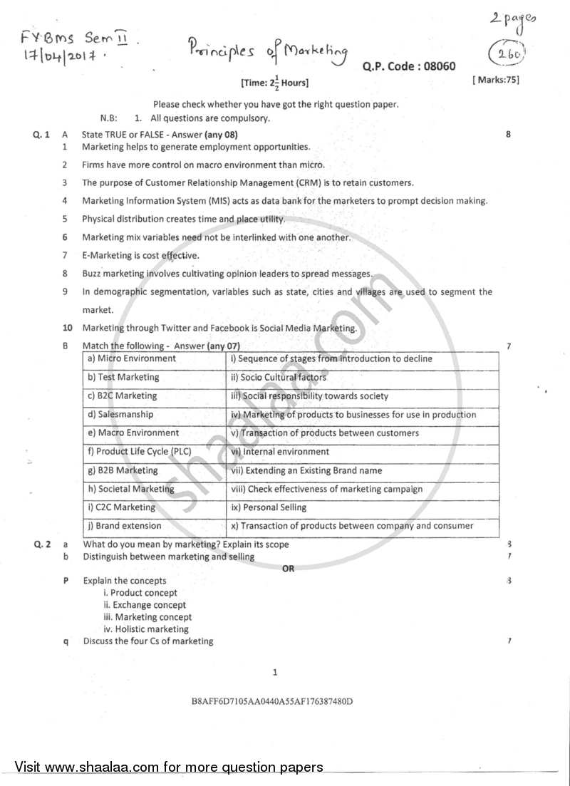 Question paper principles of marketing 2016 2017 bachelor of question paper principles of marketing 2016 2017 bms semester 2 university malvernweather Images