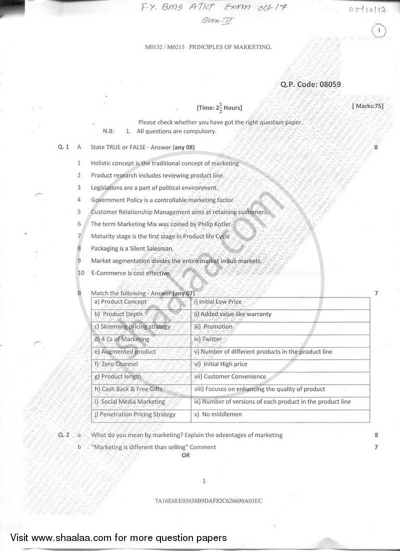 Question Paper - Principles of Marketing 2017-2018 - B.M.S - Semester 2 - University of Mumbai with PDF download