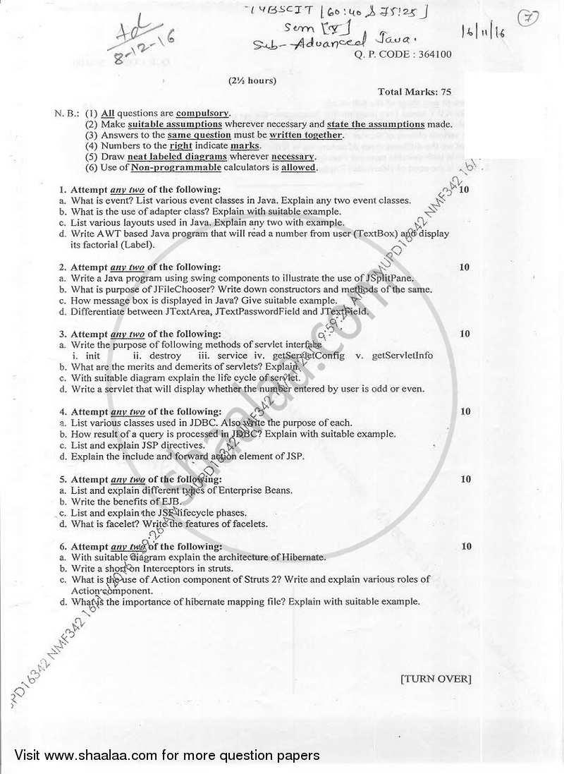 Question Paper B Sc It Information Technology Semester 5 Tybsc