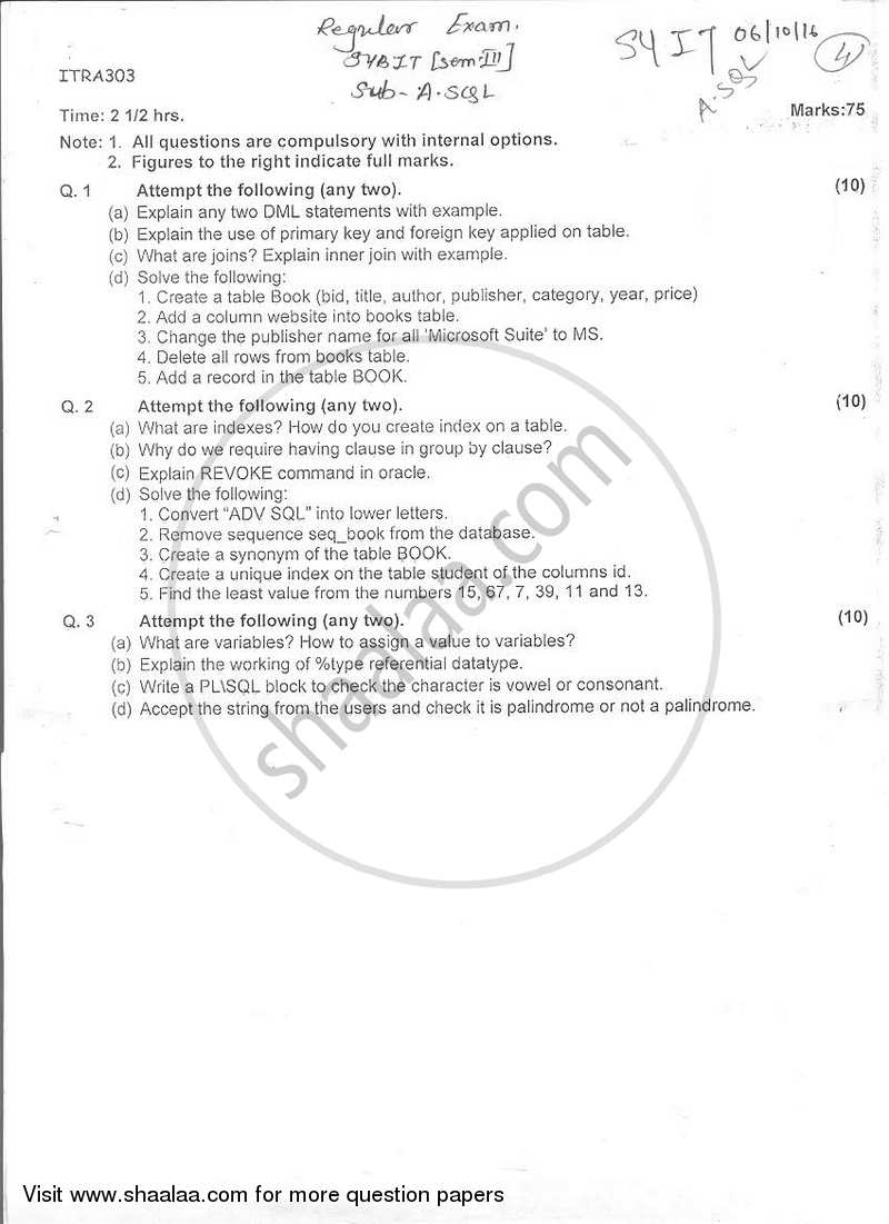 sql exam paper Cs186 final exam may 16, 2000 final exam: introduction to database systems this exam has seven sections, each with one or more problems  i sql - all queries.