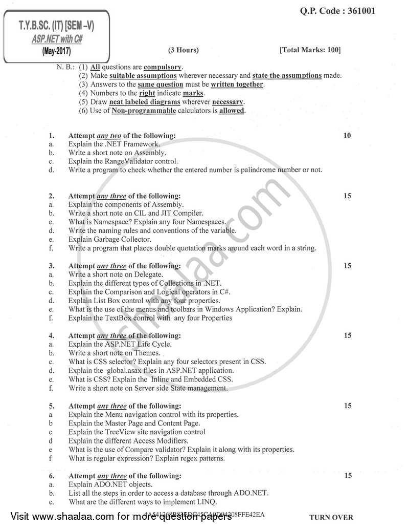 Question Paper - Asp.Net with C# 2016 - 2017 - B.Sc. - Semester 5 (TYBSc I.T) - University of Mumbai