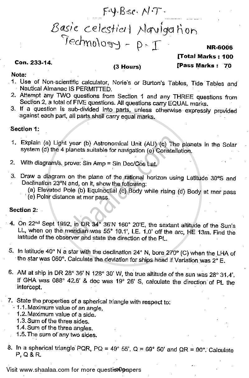 Question Paper - Basic Celestial Navigation Technology 2013 - 2014 - B.Sc. - 1st Year (FYBSc) - University of Mumbai