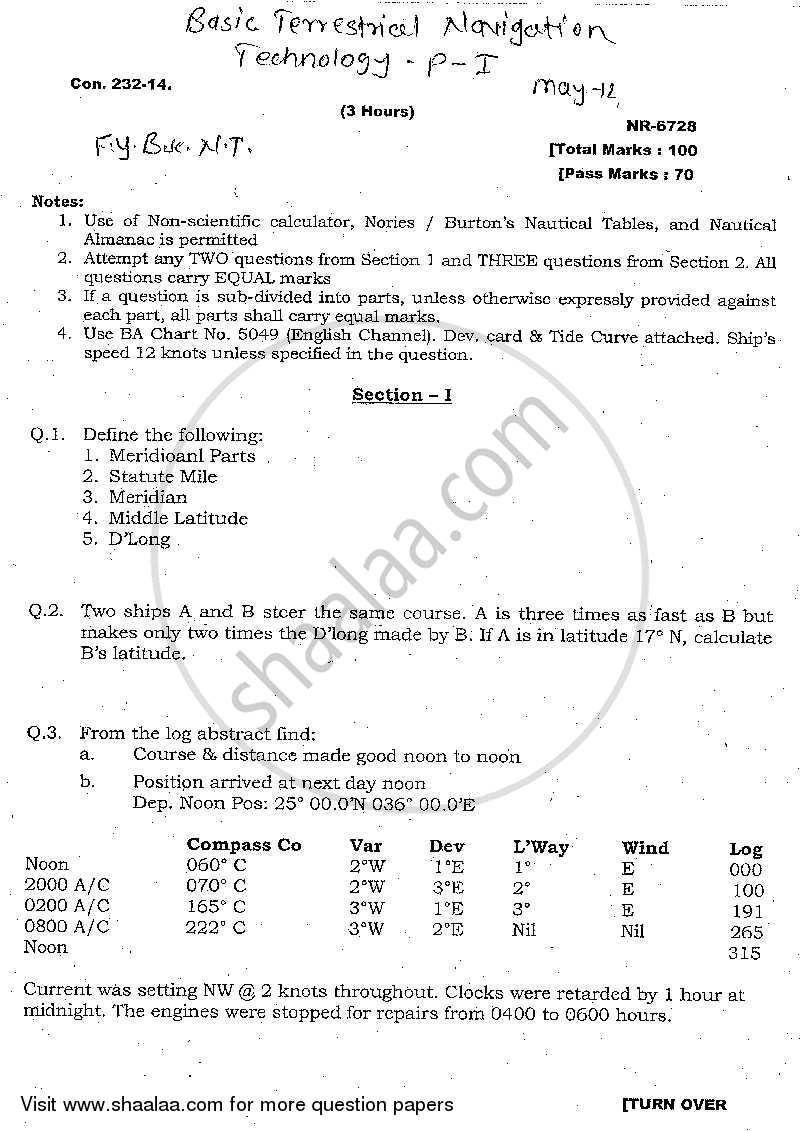 Question Paper - Basic Terrestrial Navigation Technology 2013 - 2014 - B.Sc. - 1st Year (FYBSc) - University of Mumbai